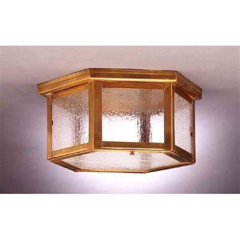 medium antique brass hexagon ceiling light with seedy