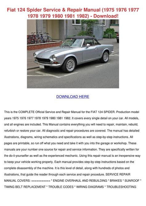 Fiat 124 Spider Service Repair Manual 1975 19 By