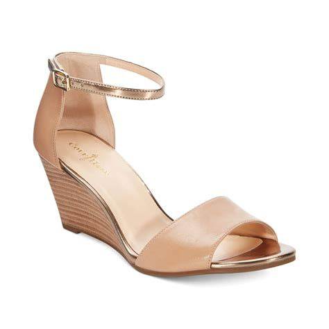 cole haan womens rosalin wedge sandals in gold sand