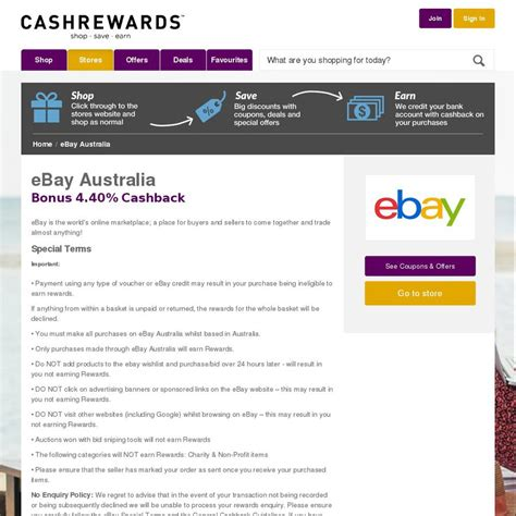ebay ozbargain ebay cashback 4 4 sitewide cashrewards please read