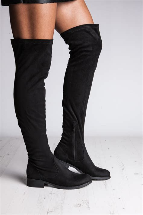 black suede the knee boots oasis fashion