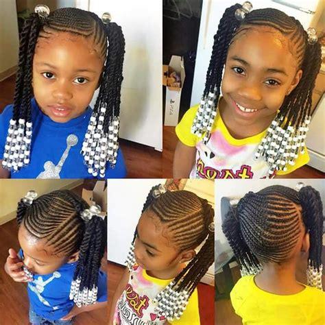 short braid and ponytails designs kids braids ponytails beads cornrows girl s hair