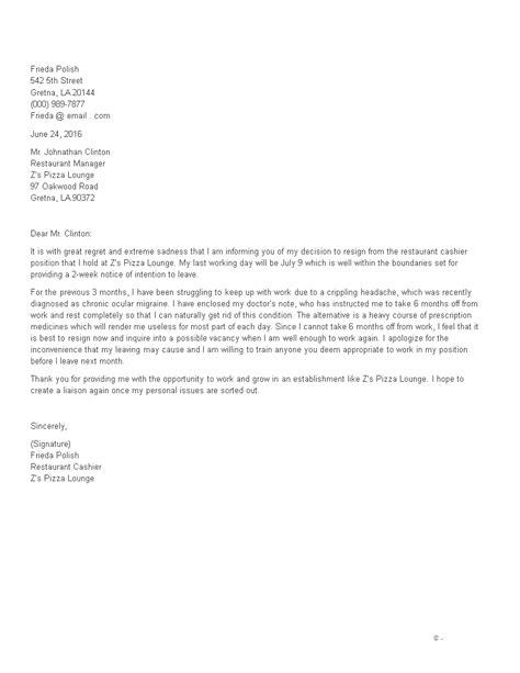 resignation letter examples cashier sample resignation
