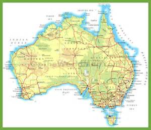 map with cities and roads physical road map of australia