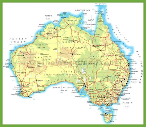 on the map physical road map of australia
