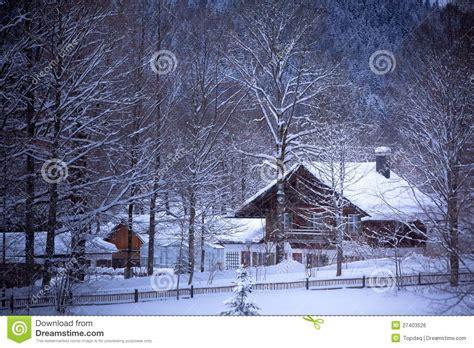 snowy alpine house   woods royalty  stock image image