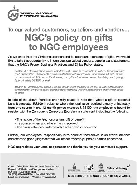 Gift Policy Letter Ngc S Policy On Gifts To Ngc Employees Ngc