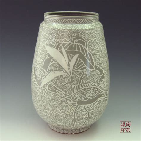 Pottery Vase Designs by Large Pottery Vase Buncheong Gray With Inlaid Lotus And