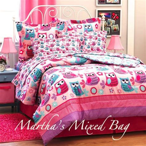 twin owl bedding girl pink lavender teal hoot owls flower twin full size
