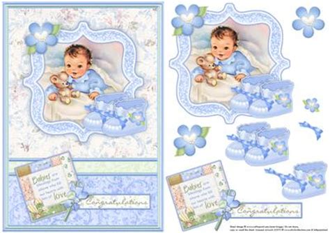 Baby Decoupage - new baby boy bootees vintage decoupage cup584619 68