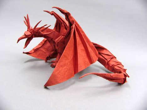 Intricate Origami - intricate paper dragons satoshi kamiya makes detailed