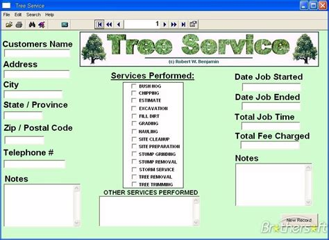 tree removal receipt template software for a small tree service business cutting