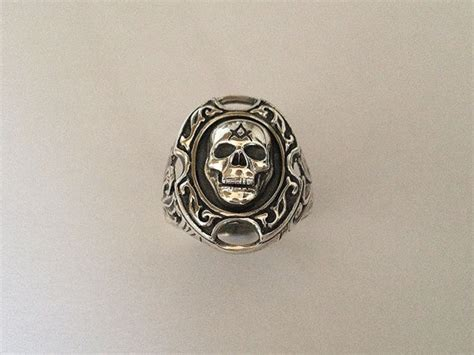 Handmade Masonic Rings - masonic skull ring silver 925 handmade all sizes