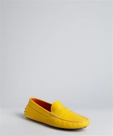 yellow loafers tod s yellow leather driving loafers in yellow for lyst