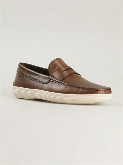 rubber sole loafers tod s rubber sole loafers in brown for lyst