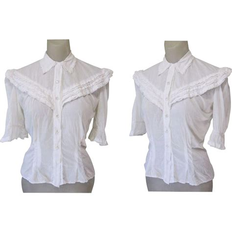 Blouse Cotton Lace G216533 vintage blouse white cotton lace glass buttons 40 s from lakegirlvintage on ruby