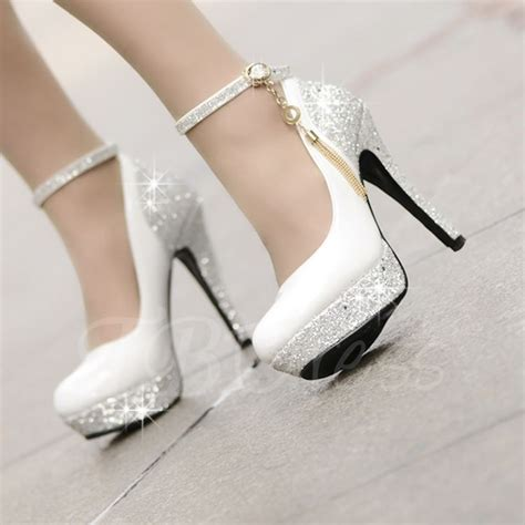 high heels platform tassel wihte wedding shoes small one