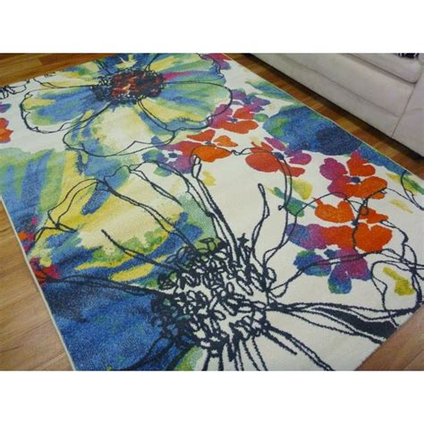 modern floor area rugs intrend flowers bright