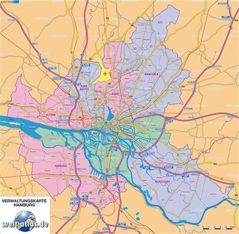 Hamburg Karte by Karte Hamburg Verwaltungskarte Deutschland Karte