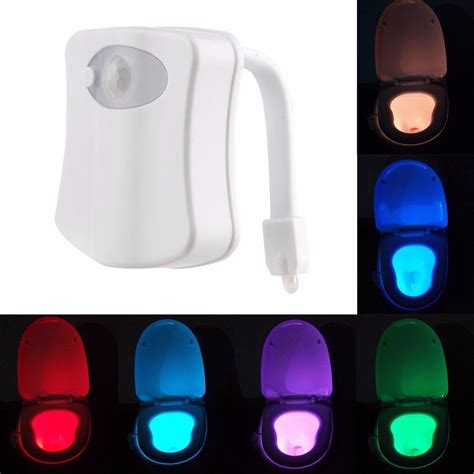 toilet light body motion sensor activated 8 colors led night light