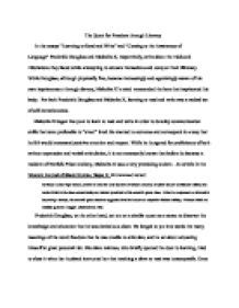 Frederick Douglass Learning To Read And Write Essay by In The Essays Learning To Read And Write And Coming To The Awareness Of Language Frederick
