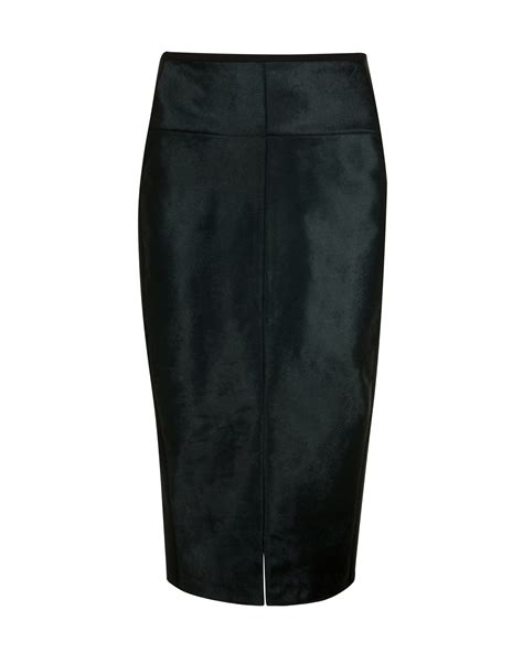 ted baker pony skin effect leather pencil skirt in green