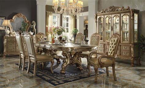 acme furniture dining room set home furniture design dresden 7 piece dining set in gold patina finish by acme