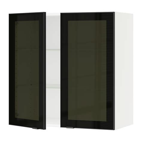 Smoked Glass Kitchen Cabinet Doors Sektion Wall Cabinet With 2 Glass Doors White Jutis Smoked Glass Black 30x15x30 Quot Ikea