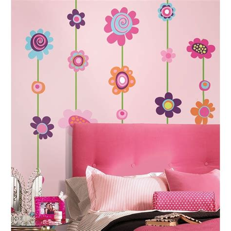 flower wall stickers for bedrooms flower stripe giant wall decals big flowers stickers new