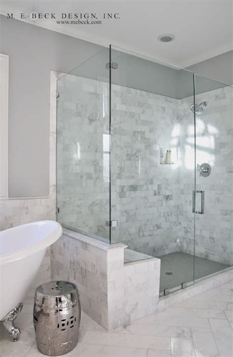 Marble Showers Bathroom Marble Shower Tiles Transitional Bathroom M E Beck Design