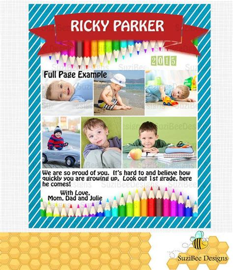 Preschool Or Elementary Yearbook Ad Or Memory Book Ad Customizable Colors Page Sizes Preschool Yearbook Templates