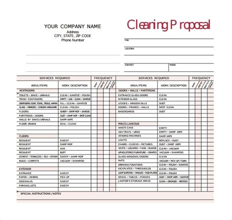 13 Cleaning Proposal Templates Pdf Word Apple Pages Adobe Indesign Sle Templates Cleaning Bid Template Free