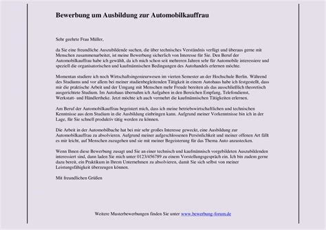 Bewerbung Jahrespraktikum Muster Automobilkauffrau Bewerbung Um Ausbildung Muster Und Tipps