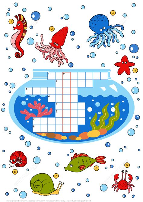 Puzzle Sea by Crossword Puzzle About Sea Animals Free Printable Puzzle