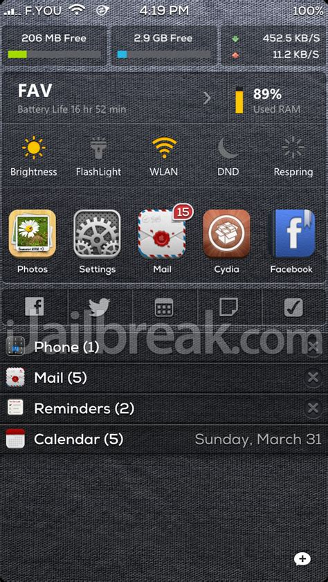 notification center themes cydia n stats for notificationcenter shows memory in the ios