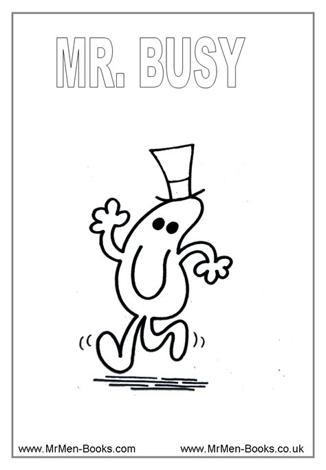 mr busy colouring page special education pinterest