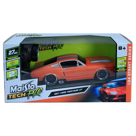 ford mustang remote car maisto tech 1967 ford mustang gt orange 1 24 scale 27mhz