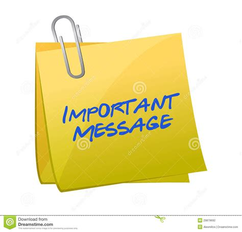 message to important messages concept on a post it stock illustration