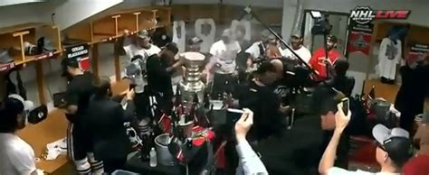 Chicago Blackhawks Dressing Room blackhawks celebration chagne flow in locker