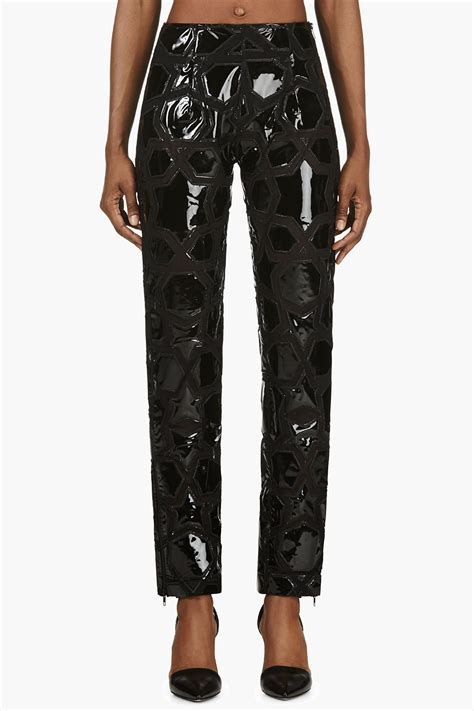 Patchwork Trousers - ktz geometric pvc patchwork trousers in black lyst