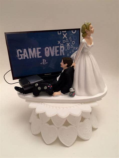 game  bride  groom ps funny wedding cake topper