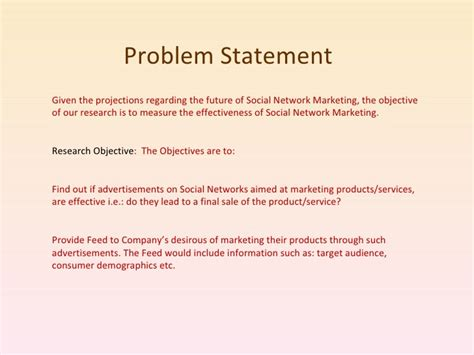 problem statement and research objectives social network marketing
