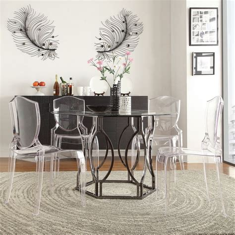 Dining Room Furniture Deals Inspire Q Concord Black Nickel Plated Glass Dining Table Overstock Shopping Great