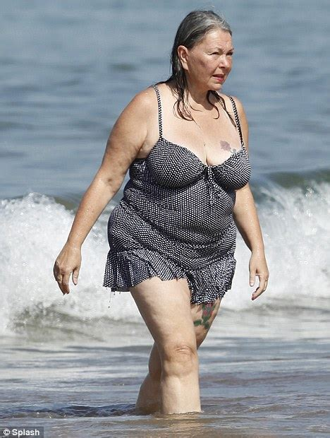 58 year old actresses roseanne barr 58 emerges from the sea in a polka dot