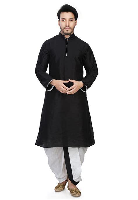 kurta pattern in black plain art dupion silk dhoti kurta in black mpc773