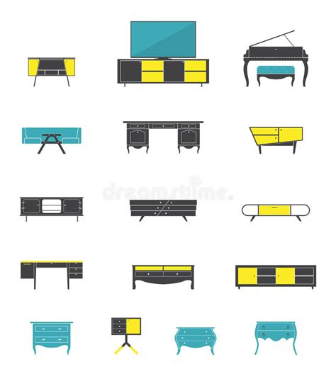 flat design home icon icon set of home and office furniture interior in flat