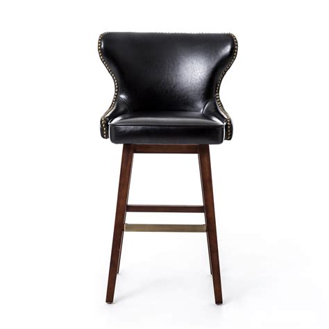 carney black leather swivel bar stool mecox gardens