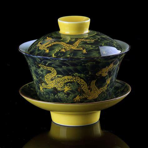 Chinese Tea Set Gaiwan Porcelain Traditional Dragon Kung