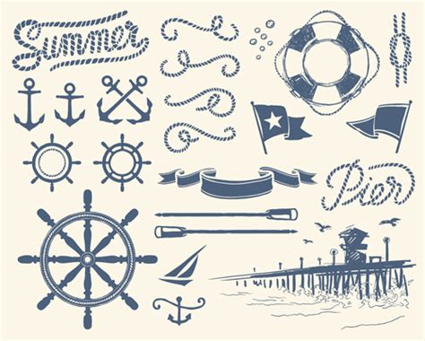 nautical designs different marine elements vector set 01 vector other