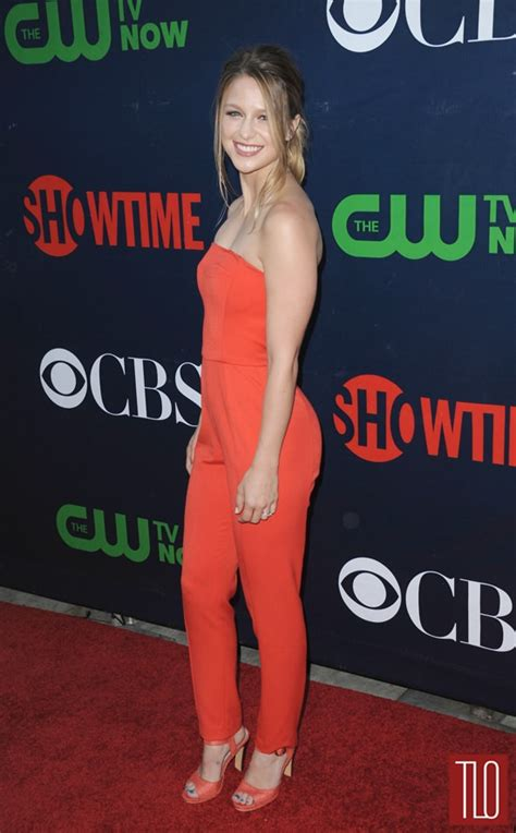melissa benoist in black halo at the cbs cw and showtime